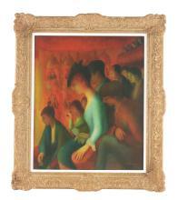 GUY PENE DU BOIS (American, 1884-1958) AT THE THEATER.