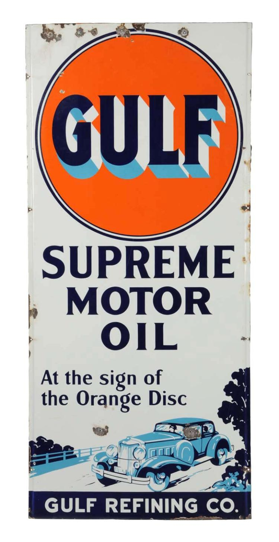 Gulf Supreme Motor Oil Lighthouse Porcelain Sign
