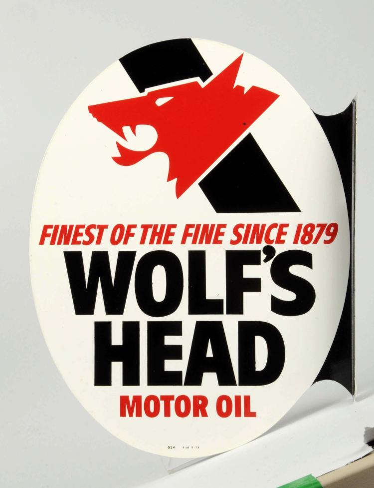 Wolf 39 S Head Motor Oil Tin Flange Sign