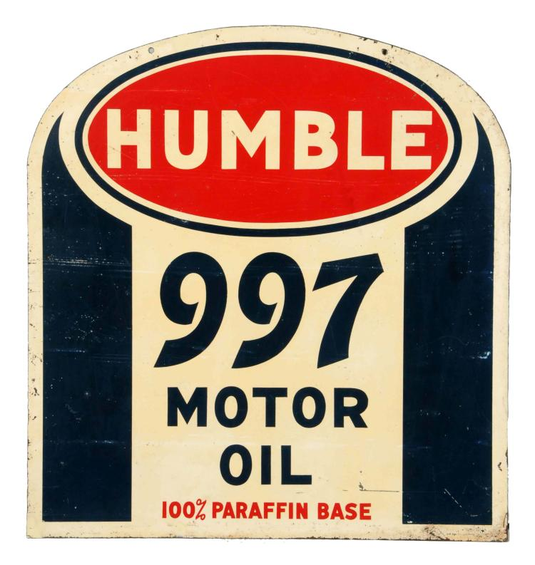 Humble 997 Motor Oil Tombstone Shaped Sign