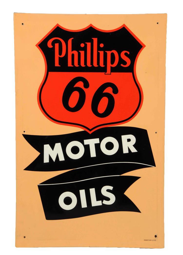 Phillips 66 Motor Oil Embossed Metal Sign