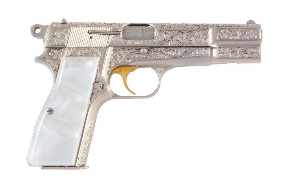 M) Engraved Browning Hi-Power Renaissance Semi-Automatic Pi