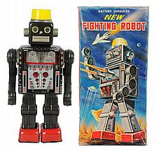 Tin Litho & Painted New Fighting Robot.