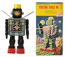 Tin Litho & Painted Fighting Space Man.