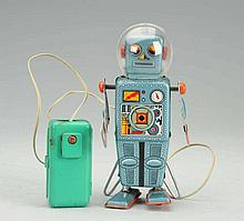 Tin Litho Domed  Easel Back Robot.
