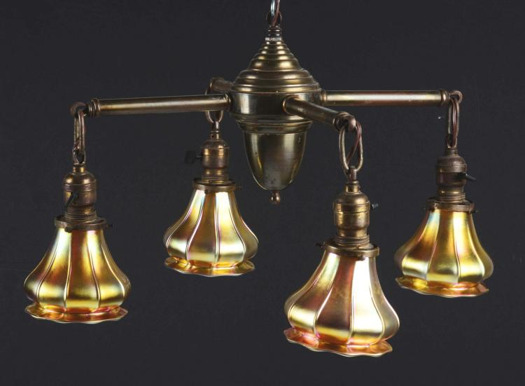 Brass Hanging Chandelier With Four Steuben Art Glass Shades