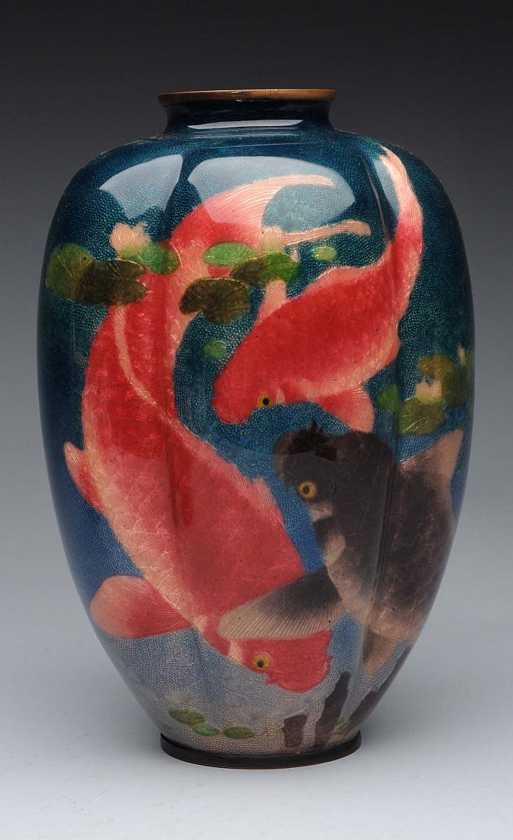 Signed wireless japanese cloisonne vase for Koi fish vase