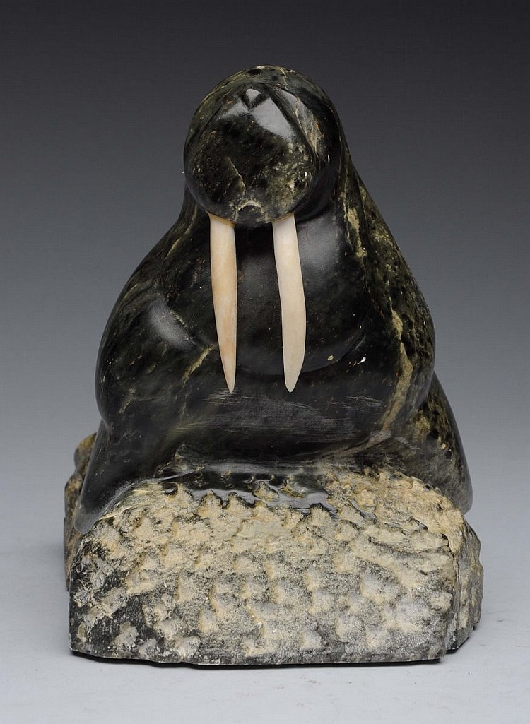 Eskimo stone carving of walrus