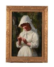 Young Girl in White Dress by E. Wood Perry.