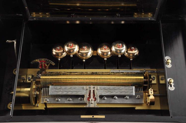 Paillard music box with six tuned bells for 93 house music