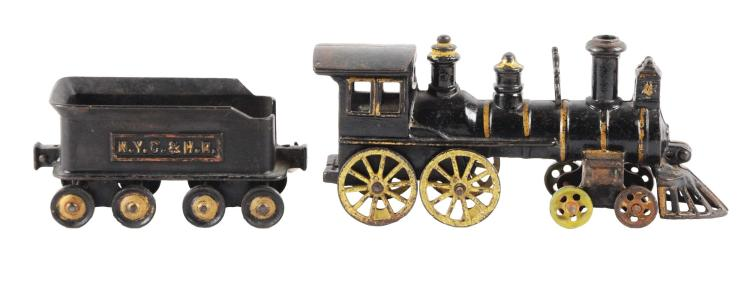 Lot Of 2: Extra Large Carpenter Cast Iron Locomotive & Ideal NYC Tender.