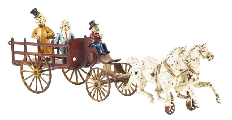 Cast Iron American Horse Drawn Character Figure Wagon