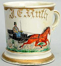 Horse-Drawn Wagon Shaving Mug.