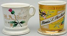 Lot of 2: Floral Shaving Mugs.
