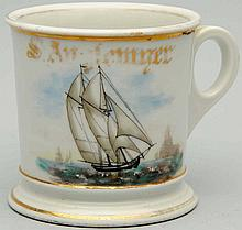 Two Masted Sail Boat Shaving Mug.