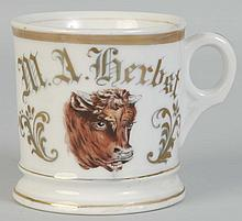 Butchers Mug With Head of Steer Shaving Mug.