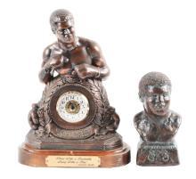 Lot of 2: Muhammad Ali Clock and Statue.