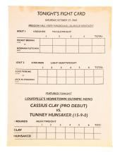1960 Cassius Clay vs Tunney Hunsaker Program 1st Professional Fight.