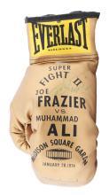 Muhammad Ali & Joe Frazier Signed 1974 Ringside Souvenir Gold Glove.