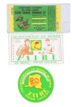 Lot of 3: Muhammad Ali & George Foreman Rumble In The Jungle Ticket and Souvenirs.