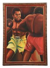 1975 Muhammad Ali Oil Painting.