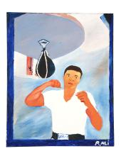Contemporary Painting of Ali Training.