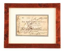 Jack Johnson & Jack Dempsey Signed Teachers Association Card.