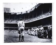 Large Format 1950's Babe Ruth Bows Out Photograph by Nat Fein(PSA/DNA).