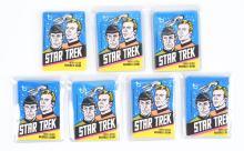 Lot of 7: 1976 Topps Star Trek Unopened Wax Packs.