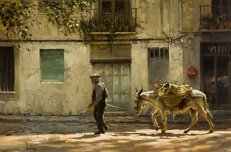 Clark Hulings - Old Man Leading Donkey