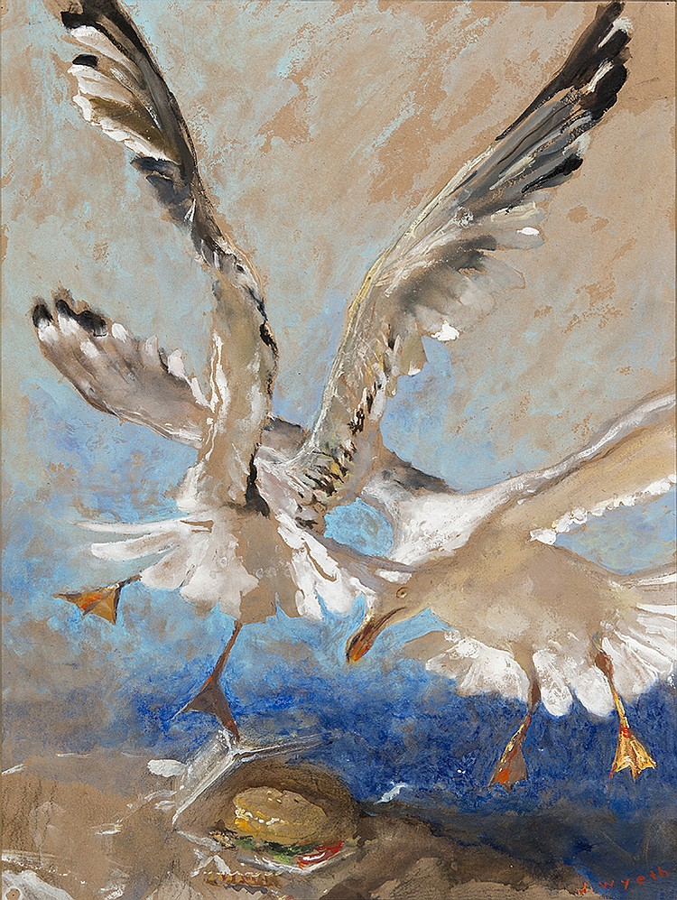 Jamie Wyeth - Gulls & Burger 1998