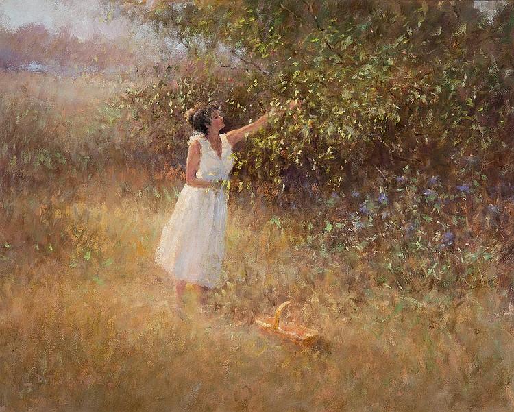 Dennis T. Yates - Woman in Field of Flowers w/Basket