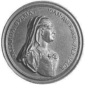 [ Medals ]  Piccarda Bueri, called Nannina (c. 1368-1433), bronze medal, veiled bust right, rev., a ship's mast with billowing sail  and an oar tied