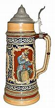 LARGE 19TH CENTURY GERMAN STEIN WITH MUSICIANS