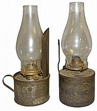 TWO TIN AND GLASS NIGHT LIGHTS
