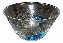 1950'S CRACKLE GLASS BOWL WITH APPLIED BLUE DECORATIONS