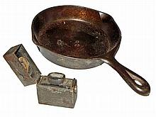 SMALL WAGNER FRYING PAN AND TRAVELLING INKWELL