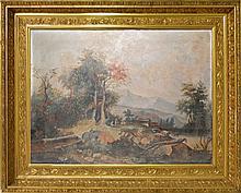 19TH CENTURY OIL ON CANVAS OF A FARM SCENE