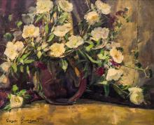 Sergei Bongart (1918-1985 American) White Floral Still Life Oil on Canvas 20''x24'' Image. An impressionist floral still life in vase. Signed l.l. Gilt framing 23''x27''. Some scattered light craquelure.