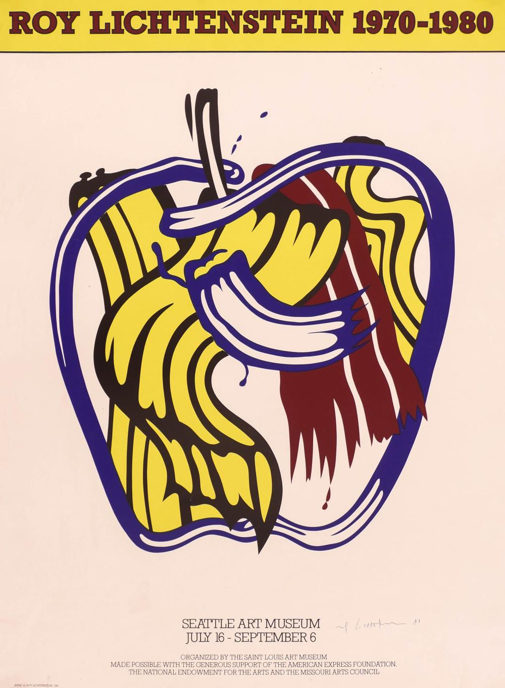 Roy Lichtenstein ''Apple'' 1981 Signed Silkscreen Poster