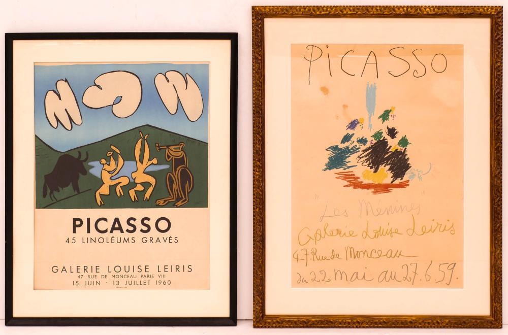 2pc Vintage Pablo Picasso Exhibition Posters