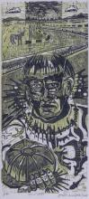 Joseph Senungetuk (b.1940 Alaska) Two Works: ''Local Hire #1'' and ''The Shaman Beckons'' 1975 Woodcut Prints 24''x12'' Image Each. Pencil signed and numbered 9 of 40 and 13 of 20 edition lower margin. Framed 34''x20'' and 30''x17''. Overall excellent condition.