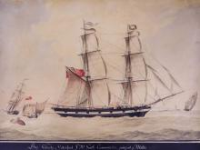 Nicholas Cammillieri (1762-1860 French) ''Brig Velocity of Vaterford, P.M. Grath Comander, Going Out of Malta'' Watercolor on Paper 16.5''x22'' Sight. An early maritime watercolor of a large schooner sailing ship. Signed l.r. Original gilt frame 24.5''x30''. Some scattered light foxing spots. Overall excellent condition. Artist also goes by Nicola.