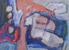 Boyer Gonzales Jr. (1909-1987 Washington) Untitled Oil on Masonite 18''x24'' Image. A colorful abstract composition by this former University of Washington art professor. Signed l.r. with Old Colony gallery framing 22''x28''. Excellent condition.