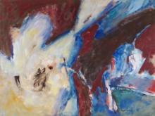 Boyer Gonzales Jr. (1909-1987 Washington) ''A Red Emerging'' Oil on Paper 17''x23'' Image. A colorful abstract composition by this former University of Washington art professor. Signed l.r. with Plasteel gallery framing 24.5''x30.5''. Excellent condition.