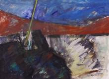 Boyer Gonzales Jr. (1909-1987 Washington) ''Outpost'' 1980 Oil on Canvas18''x24''. A colorful abstract composition by this former University of Washington art professor. Signed l.r. Loose, unframed. Excellent condition.