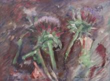 Boyer Gonzales Jr. (1909-1987 Washington) Untitled Landscape (Artichoke) 1963 Oil on Masonite 18''x24'' Image. An early abstract composition by this former University of Washington art professor. Signed l.r. with original framing 19''x25''. Excellent condition.