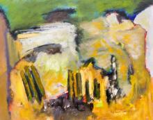 Boyer Gonzales Jr. (1909-1987 Washington) ''Verticals in Yellow'' Oil on Masonite 16''x20'' Image.