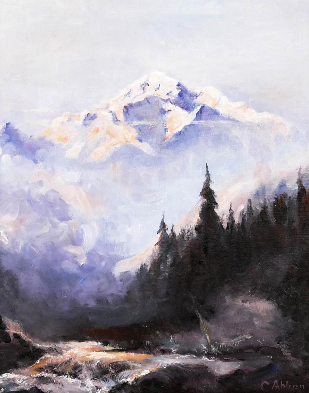 Carl Abken (b.1958 Alaska) Mount McKinley Oil on Canvas 20''x16'' Image. A charming romantic Alaskan landscape executed in the manner of Sydney Laurence. Signed l.r. Gallery framed 24''x20''. Excellent condition.