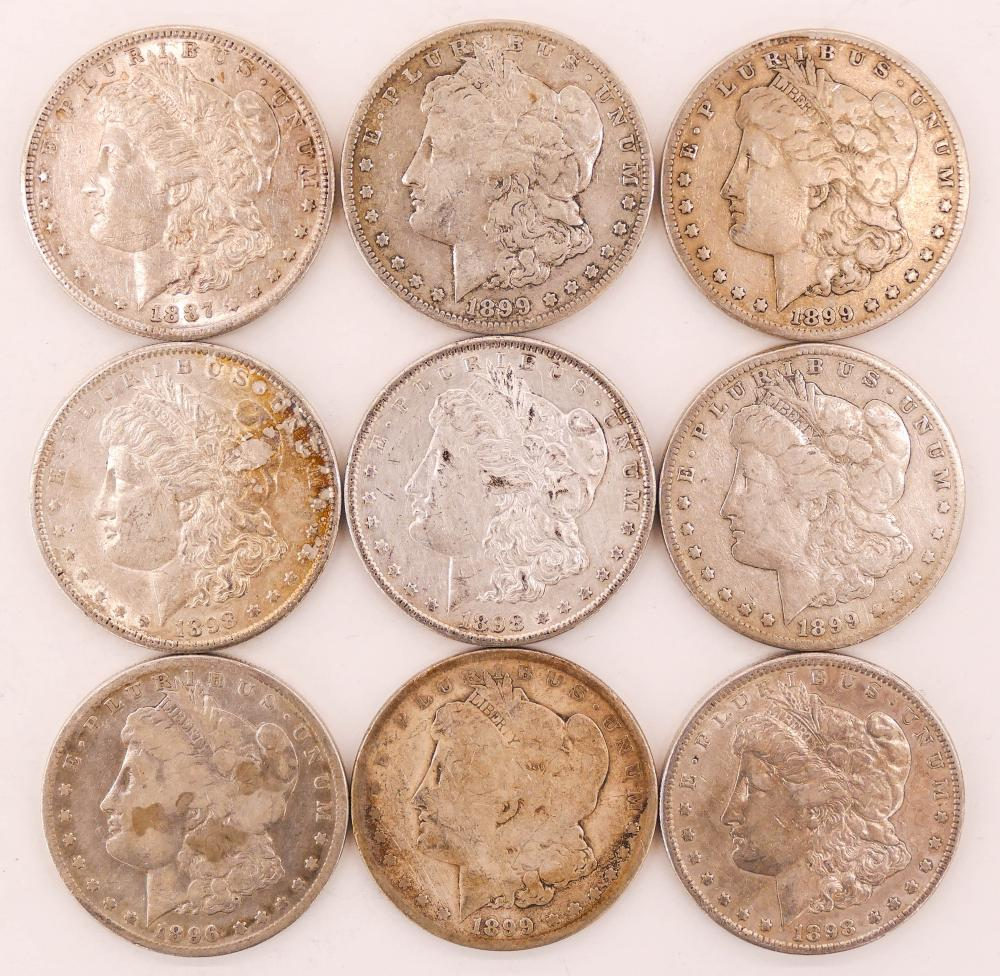 9pc US Morgan Silver Dollars Scarcer Dates